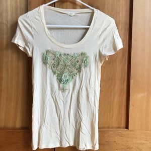FRONT LACE, BEADING DETAILED TEE